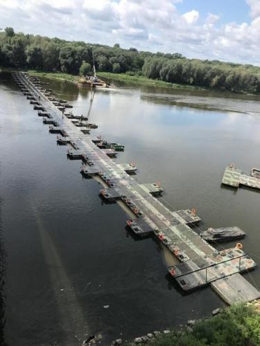 Most pontonowy. Remont realizowany cyklicznie w latach 1990 – 2005.